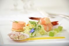 Plat de Mer Jumbo Wild Prawns, Fennel Salad, Pink Scallop on the Shell with Gelee, and Lobster Mousse #culinarycapers #food #catering http://www.culinarycapers.com/ Photo: Brian Dennehy