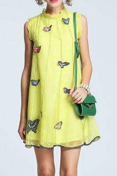 Afondi Neon Green Sleeveless Butterfly Embroidery Organza Dress   Mini Dresses at DEZZAL