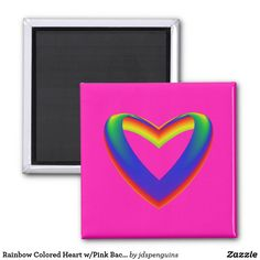 Rainbow Colored Heart w/Pink Background Magnet