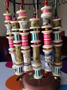 Wooden spool Christmas decorations.
