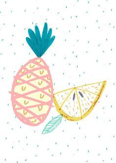 Tutti Fruit Lemon and pear illustration.