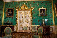 Green room, Peterhof Palace, St Petersburg, Russia.