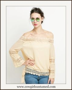 WILDFLOWER TOP Tan Crochet Lace Dolman Sleeve Oversized Boho Top #crochetlace #top #shirt #blouse #boho #offtheshoulder #sexy #beige #onlineshopping #holidayshopping #lace