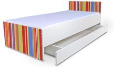 Detská posteľ bez bočníc Prúžky + šuflíky
