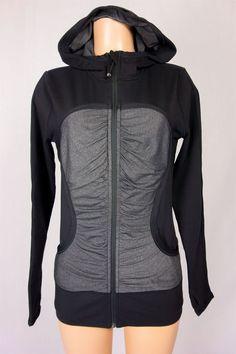 LULULEMON Pure Balance Jacket Size 10 M Medium Gray Black Ruching Hooded #Lululemon #CoatsJackets