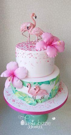 Pink Flamingo Party, Flamingo Cake, Flamingo Birthday, Luau Birthday, Bolos Pool Party, Luau Party Cakes, Rodjendanske Torte, Beautiful Birthday Cakes, Girl Cakes