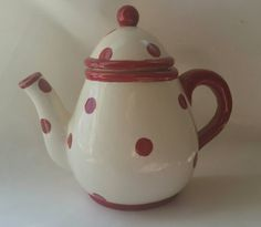 Red Polka Dot Teapot Hanging Canister by ALittleFun4U on Etsy