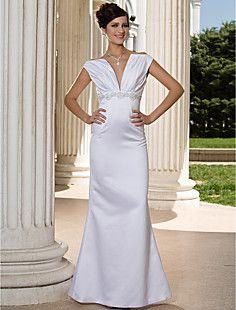 Trumpet/Mermaid V-neck Floor-length Sleeveless Satin Wedding... – USD $ 199.99
