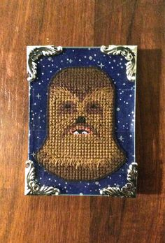 Chewbacca cross stitch with galaxy by MillenniumFalcrafts on Etsy