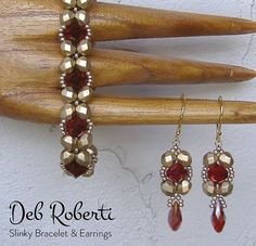 Use size seed beads, and crystal beads (bicone or fire-polished) to make this easy but dazzling bracelet and some matching earrings. Bead Embroidery Patterns, Bead Crochet Patterns, Beading Patterns Free, Seed Bead Patterns, Beaded Bracelet Patterns, Color Patterns, Weaving Patterns, Mosaic Patterns, Beading Tutorials