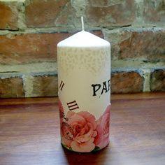 decoupage - candle Pillar Candles, Decoupage, Adidas, Candles