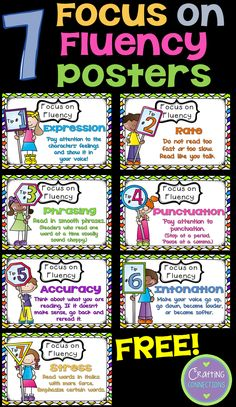 FREE Fluency Posters (plus MORE free fluency activities! Reading Lessons, Reading Resources, Reading Skills, Teaching Reading, Reading Groups, Reading Strategies Posters, Reading Fluency Activities, Teaching Ideas, Fluency Games