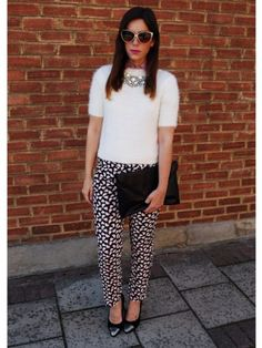 Today's LOOK Of The Day goes to Naomi Rowland for her chic printed trouser look. Show us your street style here...  http://www.look.co.uk/look-what-im-wearing-street-style-fashion/naomi-rowland/2013-09-11-1718/pink-lady