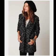 "Free People Boucle Textured Jacket Super chic boucle knitted menswear style coat. Collared and button closure. Two large pockets and fully lined. Slit at the bottom of back. Length 33 1/4"", bust 41"", waist 40 1/4"", sleeve 24 5/8"" Free People Jackets & Coats"