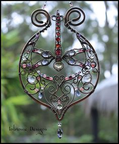 Wire Wrapped Multi Gemstone Dragonfly by IntrinsicDesignsArt