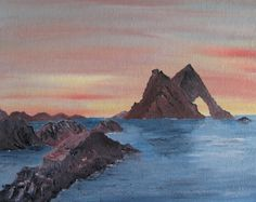 Items similar to Original Oil painting of Bow Fiddle Rock, Scottish Highlands Oil on Board, unframed, on Etsy Lovely Shop, Inverness, Scottish Highlands, Animal Paintings, Watercolour Painting, Landscape Paintings, Handmade Items, Bows, Artist