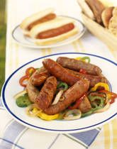 Crockpot Italian Sausage and Peppers Recipe.  It calls for turkey sausages - but I use regular mild Italian sausages from Costco.