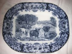 Antique Imperial Porcelain Wedgewood England Large Ironstone Platter with Cows