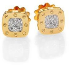 Roberto Coin Pois Moi Diamond & 18K Yellow Gold Square Earrings