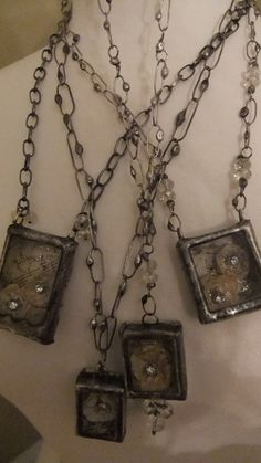 shadow box charms and soldered chain links