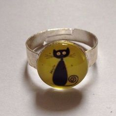 Cat Ring - Adjustable - Black Cat on Yellow Background Cat Ring, Animal Rings, Cat Jewelry, Yellow Background, Background Search, Gemstone Rings, Silver Rings, Black, Friends