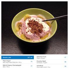 Pomegranate-Yoghurt Mix with Kiwi and Choco Crunch