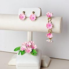 Vintage Pink Morning Glory Enamel and Gold Tone Earring Bracelet and Brooch Set. $49.00, via Etsy.