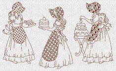 INSTANT DOWNLOAD Baking Sunbonnet Sue Redwork por embroiderygirl