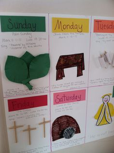 Holy Week calendar that describes each day that leads up to Easter Sunday. :-)