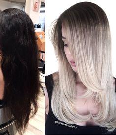 TRANSFORMATION: Overcast Gray - Career - Modern Salon Cool Blonde Hair Colour, Blonde Hair With Roots, Ice Blonde Hair, Silver Blonde Hair, Icy Blonde, Dark Hair, Ice Hair, Balayage Ombré, Balayage Hair Blonde