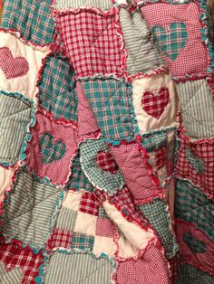 Homespun and Cotton Rag Quilt Flannel Backed Very Large Throw size Beautiful Primitive Looking Handmade
