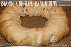 This chicken, bacon, ranch crescent ring would be perfect to make for a party.