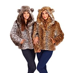 NEW IN: Faux fur coats and jackets. Hooded animal print short jacket with ears Leopard Prints, Fur Coats, Faux Fur Jacket, Printed Shorts, Ears, Wrap Dress, Winter Hats, Take That, Animal