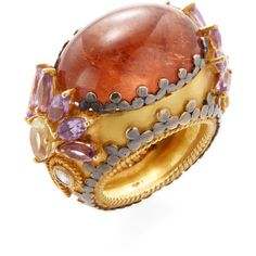 Amrapali Women's Tourmaline, Amethyst & Lemon Topaz Cocktail Ring -... ($3,400) ❤ liked on Polyvore featuring jewelry, rings, multi, wide-band rings, yellow topaz ring, amethyst jewelry, 18k ring and yellow topaz jewelry