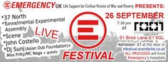 EMERGENCY UK is proud to present a new appointment with the E-FESTIVAL, Emergency UK's night of live music and solidarity! Join us, have fun, listen to some incredible live music and help us to raise funds for Emergency's humanitarian projects worldwide.   The event will take place at Café 1001 in famous and eclectic Brick Lane on the 26th of September. Doors will open at 7.30pm and the bands will start playing at 8.00pm. #charity #fundraising #festival #livemusic
