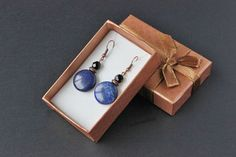 Lapis lazuli jewelry Black blue earrings Blue by TanBorzoShop