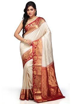 Off White and Maroon Pure Kanchipuram Handloom Silk Saree with Blouse: SAHA47
