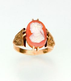 circa 1875 Victorian hard stone cameo ring 14k by SearchEndsHere on Etsy
