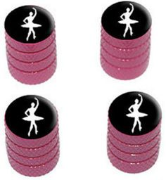 """Amazon.com : (4 Count) Cool and Custom """"Diamond Etching Ballerina Top with Easy Grip Texture"""" Tire Wheel Rim Air Valve Stem Dust Cap Seal Made of Genuine Anodized Aluminum Metal {Hot Lexus Pink and Black Colors - Hard Metal Internal Threads for Easy Application - Rust Proof - Fits For Most Cars, Trucks, SUV, RV, ATV, UTV, Motorcycle, Bicycles} : Sports & Outdoors"""