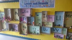 "This display was made by a Twinkl Teacher - ""My initial letter sounds display. My current class have found objects for the display to help the new reception children coming in September."" Great idea!"