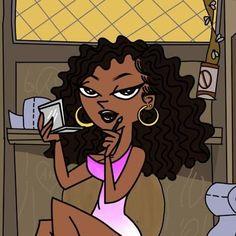 Black Cartoon Characters, Black Girl Cartoon, Dope Cartoon Art, Cartoon Pics, Black Love Art, Black Girl Art, Art Girl, Black Girls, Black Aesthetic Wallpaper