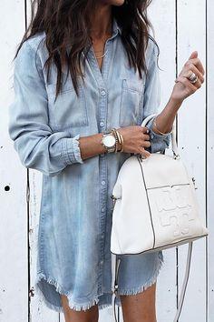 Orsle Torn Edges Buttons Blue Mini Dress – ORSLE