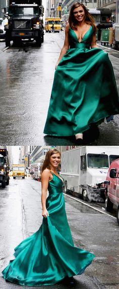 Elegant A-line V Neck Teal Green Long Prom Dress, 2018 Prom Dress Party Dress