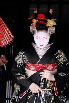 Two silver fan-shaped bira-bira kanzashi and formal kazashi made of tortoise shell in the front. Traditional Japanese Kimono, Japanese Geisha, Traditional Dresses, Japanese Art, Japanese Beauty, Yukata, Asian Fabric, Memoirs Of A Geisha, Turning Japanese