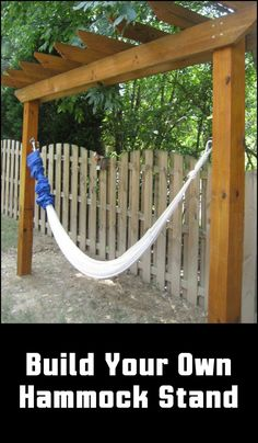 build a hammock stand. Must have with clematis or morning glory climbing How to build a hammock stand. Must have with clematis or morning glory climbing . -How to build a hammock stand. Must have with clematis or morning glory climbing . Diy Hammock, Backyard Hammock, Hammock Stand, Backyard Patio, Backyard Landscaping, Hammocks, Hammock Cover, Outdoor Hammock, Hammock Frame