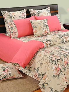 SWAYAM PINK BLOSSOM BED SHEETS- 3537 Feel the grandeur around you home as you bring these bed sheets home. Let the beautiful design and color of these bed sheets shine on your home and give your bed a changeover for a lifetime. Duvet Bedding, Comforter Sets, Linen Bedding, Bed Cover Design, Bed Design, Bed Sheet Sets, Bed Sheets, Pillow Covers Online, Printed Sofa