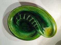 Royal Haeger Large Ashtray / Mid Century Ceramic Ashtray / Green Ceramics/ Retro Ashtray/Atomic Era Ashtray by VintageVixens1 on Etsy