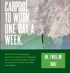 Puedes tomar un aventon al trabajo 1 dia a la semana?  Carpool to work one day a week. ow.ly/albdk