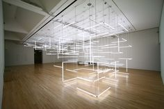 A Geometric Labyrinth of 200 Fluorescent Lights at Frye Art Museum light installation