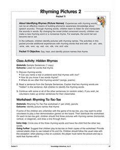 Rhyming Pictures 2 - Free Kindergarten Reading Worksheet